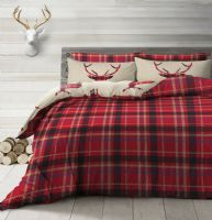 STAG DEER ANTLERS XMAS CHECK TARTAN PRINTED DUVET COVER & PILLOWCASE NATURAL RED